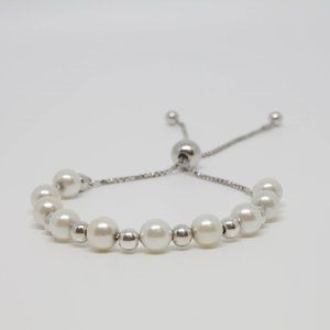 Jewelry - Sterling Silver Bracelet 4 & 6mm Bead and Pearl